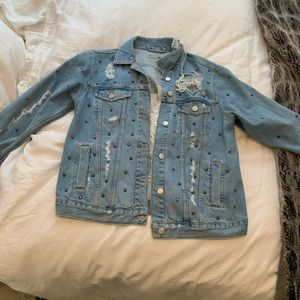Top shop Denim Ripped Studded Jacket